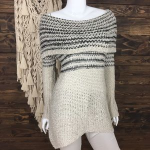 Umgee | Lattice Open Knit Lace Off Shoulder Cowl